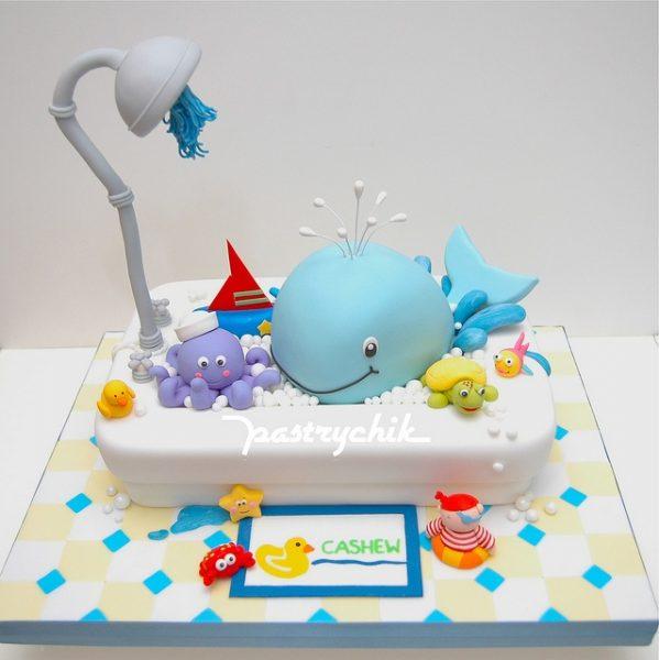 bolo para cha de bebe banho fundo do mar
