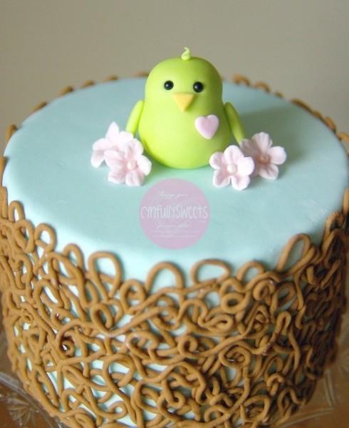 bolo para cha de bebe passarinho