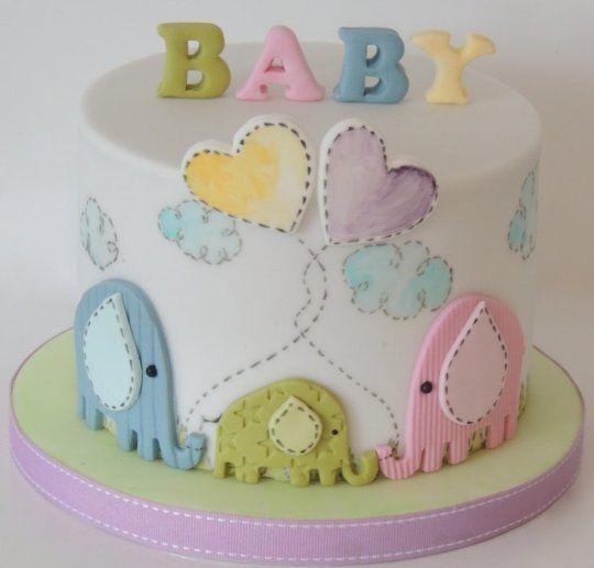 bolo para cha de bebe elefantinhos