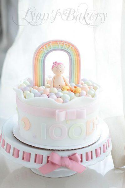 bolo para cha de bebe arco-iris