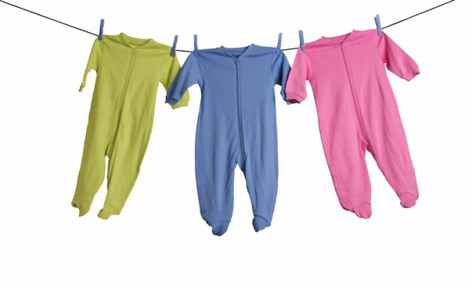 Baby sleepers on the clothesline.