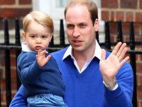 Prince William, Duke of Cambridge arrives with his son Prince George to The Lindo Wing of St Mary's Hospital on May 2, 2015 in London, England.