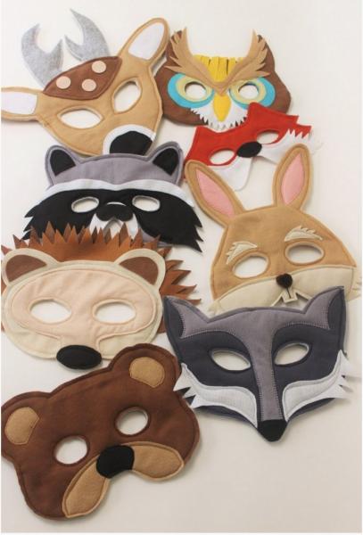 máscara de bichinhos em feltro