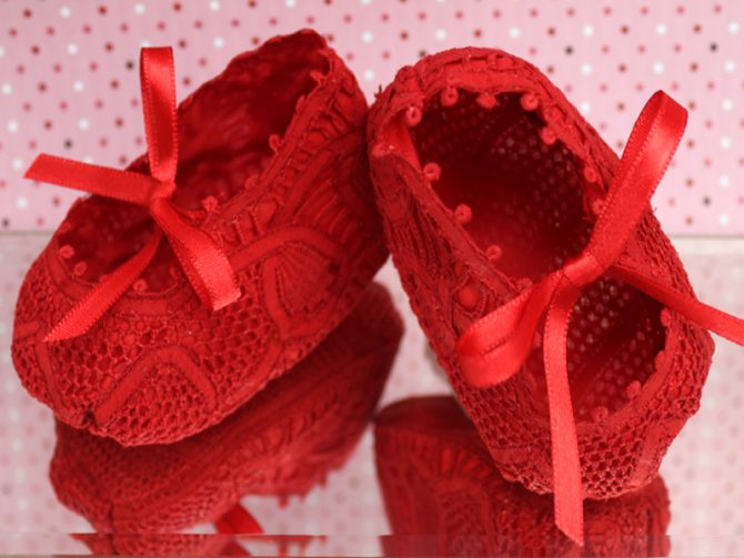 sapato renda renascenca vermelho